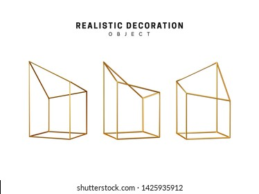 Golden geometric 3d object isolated on white background. Gold metallic geometry elements