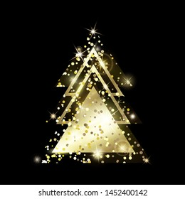 A golden geometric Christmas tree made of triangles. Yellow Golden Glitter. For Xmas and Happy new year. Vector illustration on black background. Glowing and shimmering golden confetti.