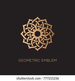 Golden geometric emblem template design. Vector illustration.