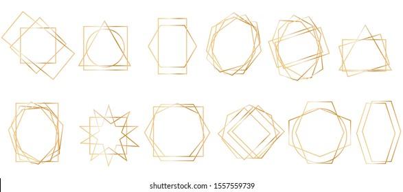 Golden geometric frames. Geometrical polyhedron, art deco style for wedding invitation, luxury templates, decorative patterns.