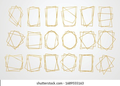 Golden geometric frames. Geometrical polyhedron, art deco style for wedding invitation