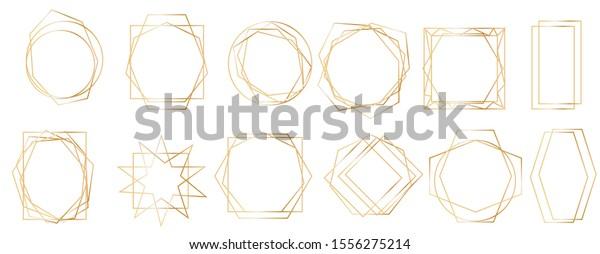 Golden geometric frames. Geometrical polyhedron, art deco style for wedding invitation, Realistic 3d Detailed Golden Polygonal Frames Thin Line Set for Invitation Decoration.