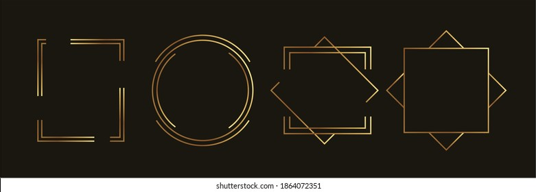 Golden geometric frames vector. Luxury Geometrical polyhedron, Art deco style for wedding invitation and VIP frame decoration.