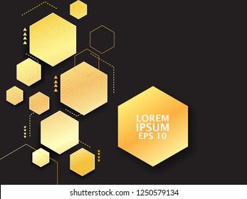golden geometric hexagon vector template. abstract gold vector background.