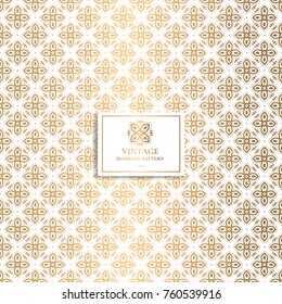 Golden geometric pattern. Minimal pattern. Vintage. Stylised cross. Great for fabric and textile, flyer, banner, business cards, wallpaper, packaging or any desired idea.