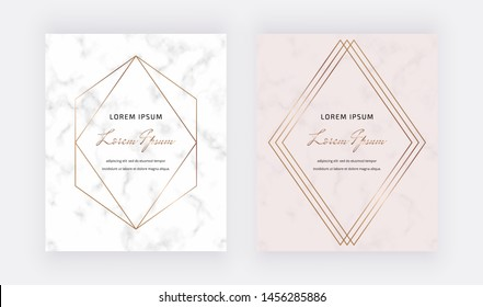 Golden geometric polygonal lines frames on the pink marble texture background. Trendy template for wedding, banner, wallpaper, flyer, poster, invitations.