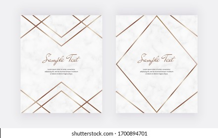 Golden geometric polygonal lines frames on the marble texture. Trendy templates for wedding invitation, banner, flyer, poster, greeting.