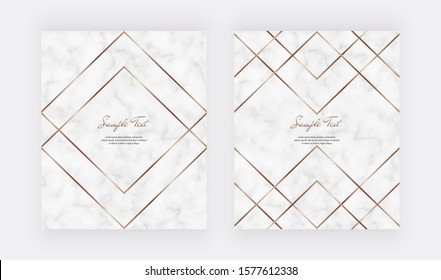 Golden geometric polygonal lines  on the marble texture. Trendy templates for wedding invitation, banner, flyer, poster, greeting.