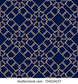 Golden geometric print on dark blue background. Seamless pattern for web, textile and wallpapers