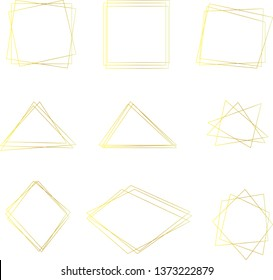 Golden geometric squares, triangles and rhombuses. Shining lines decorative set