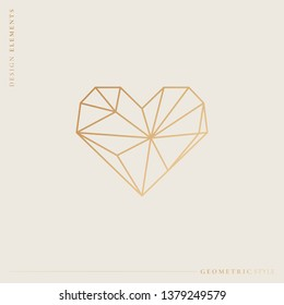Golden geometric style heart vector