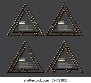 Golden geometric triangles.Vector illustration.