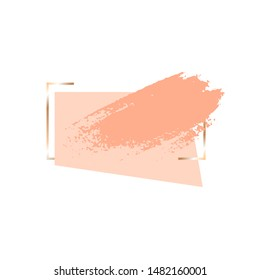 Golden geometrical frame and nude quadrangle, brush stroke on a white background. Vector design template for banner, card, cover, invitation.