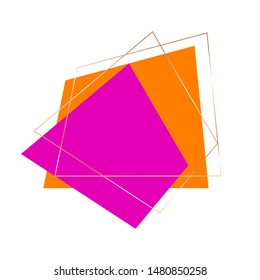 Golden geometrical frames and orange, pink quadrangles on a white background. Vector design template for banner, card, cover, invitation.
