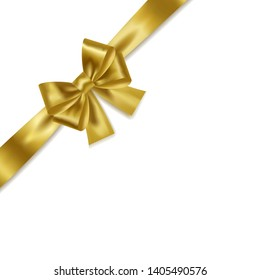 Golden gift bow with ribbons isolated on white background. Vector realistic element for design.