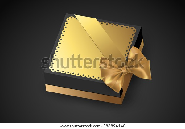 Golden gift box tied with a ribbon with a bow. Chocolate for Valentine's Day. Birthday gift with love. Luxury gift. Vector illustration.