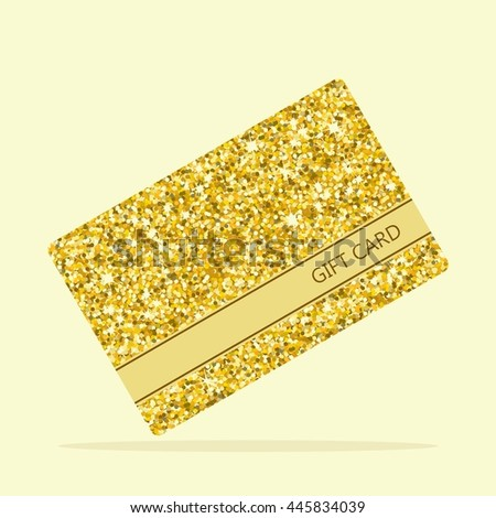 golden gift card element for greeting cards for the wedding new year birthday