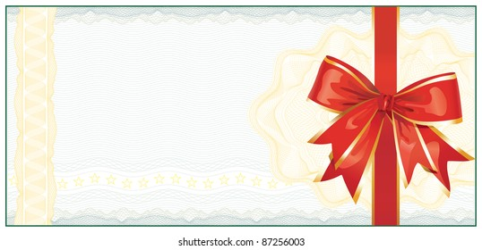 Golden Gift Certificate or Discount Coupon template / with red bow / vector