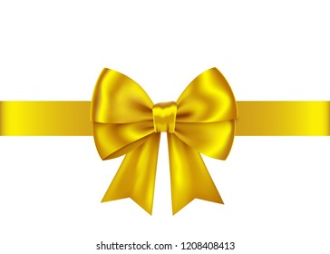 Golden  gift ribbon and bow isolated on white background. Christmas, New Year, birthday gold decoration. Vector realistic decor element  for banner, greeting card, poster.