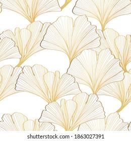 Golden Ginkgo leaves background. Luxury Floral art deco. Gold natural pattern design Bordo illustration.
