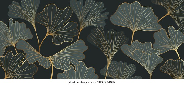 Golden Ginkgo leaves background vector. Luxury Floral art deco. Gold natural pattern design Vector illustration.