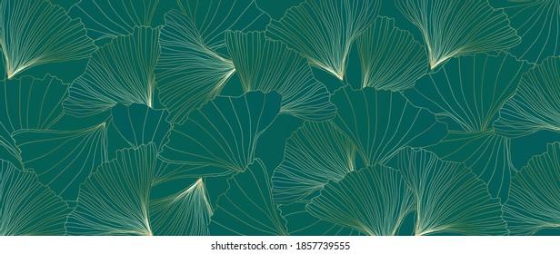 Golden Ginkgo leaves botanical modern art deco wallpaper background vector. Floral line arts background design for luxury elegant pattern.