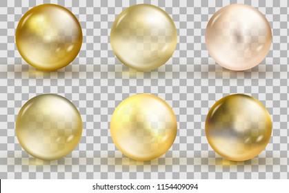 Golden glass ball template. Oil gold bubble isolated on transparent background. Vector realistic yellow serum droplet of drug or collagen essence. Collagen essence, yellow serum droplet.