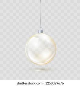 Golden Glass transparent Christmas ball. Yellow Xmas glass ball on transparent background. Holiday decoration template. Vector illustration