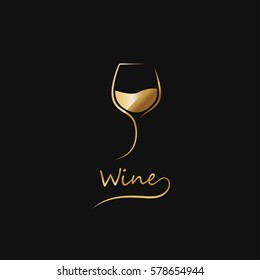 Golden glass of wine. elegant icon, symbol,luxury logo alcohol. For the menu, bar, restaurant, wine list. Minimal.
