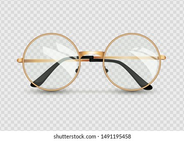Golden glasses isolated on transparent background, round black-rimmed glasses, women's and men's accessory. Optics, see well, lens, vintage, trend. Vector illustration. EPS10