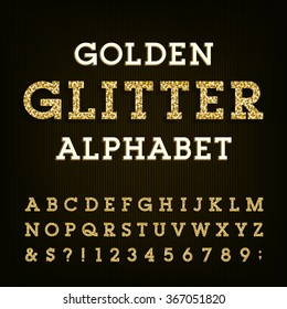 Golden glitter alphabet font. Letters, numbers and symbols.Vector typography for labels, headlines, posters etc.