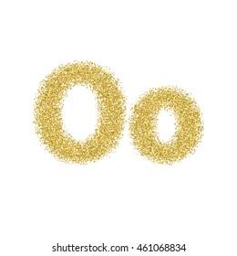 Golden glitter alphabet letters, numbers and symbols. Vector illustration.