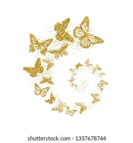 Golden glitter butterflies fly in spiral on white background. Beautiful gold silhouettes with different shapes wings. For invitation, fashion, decorative abstract design elements. Vector illustration