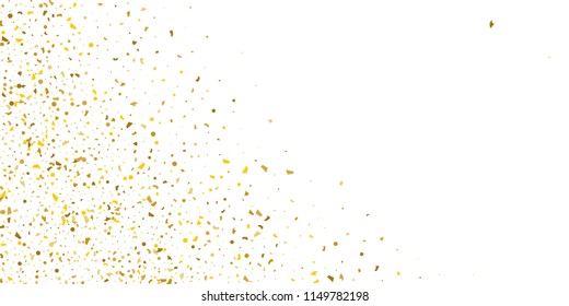 Golden glitter confetti on a white background.Gold banner. Decorative element. Luxury background for your design, logo, web, card, exclusive, certificate, gift, luxury, privilege,  store, present.