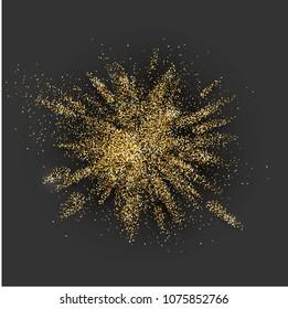 Golden glitter explosion on grey background. Vector illustration.