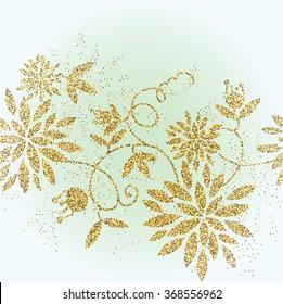 Golden glitter flower background. Tinsel shiny backdrop. Luxury gold template. Vector