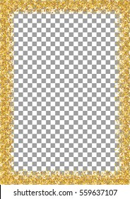 Golden glitter frame a4 format size isolated on transparent background. Glittering sparkle frame on vector background.