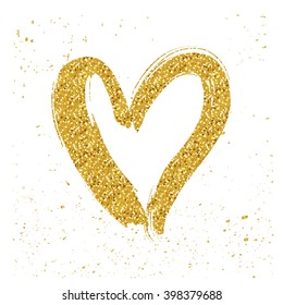 Golden glitter isolated hearts. White background. Hand drawn design for Valentine's Day.