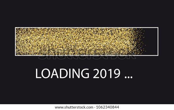 Golden Glitter Loading Bar New Year 2019