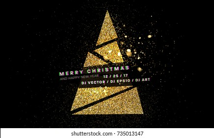 Golden glitter Merry Christmas and Happy New Year greeting card template | Xmas decoration | Holiday label for posters, placards, banners, flyers and brochures