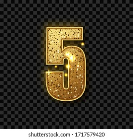 Golden Glitter number five. Vector realistic shining golden number 5 of sparkles. Luxury Golden Glitter elegant celebration design for decoration of cute wedding, anniversary, party, label, headline.