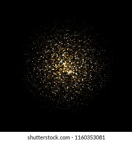 Golden glitter particles explosion on black background. vector abstract space shine of glittery confetti or firework splatter for Christmas or luxury fashion cosmetic design