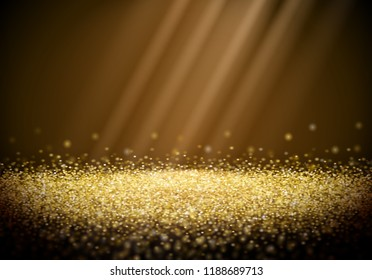 Golden glitter retro background with abstract shiny light rays in the darkness