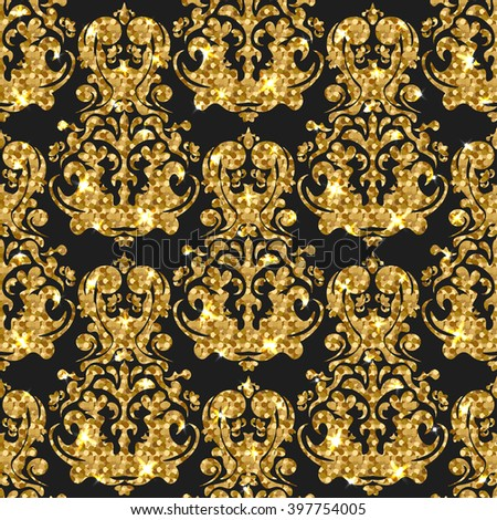 b41c00b739 Golden Glitter Seamless Pattern Vector Background Stock Vector ...