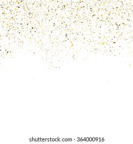 Golden glitter shine texture on a white background. Golden explosion of Confetti particles. Isolated Holiday birthday Design elements. Vector illustration.