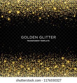 golden glitter, starlight effect template with transparent background design vector eps 10