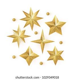 Golden Glitter Stars vector set isolated on white background.  Glittering Christmas star icon. Design element for holidays.