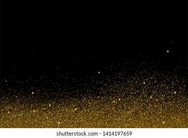 Golden glitter texture on black background with Blank Copyspace