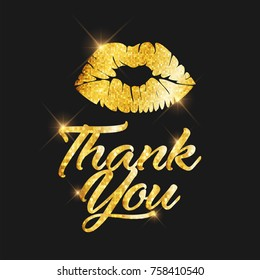 Golden glitter Thank You text and sexy lip kiss icon for social media, blog or Vlog (Video blog) Internet friendship and communication, Online promotion.