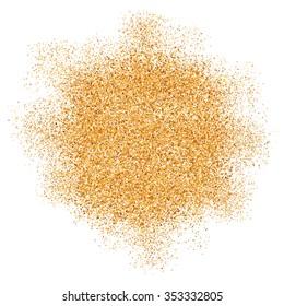 Golden glitter vector texture splash on white background